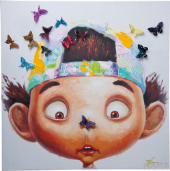 SLIKA TOUCHED BOY WITH BUTTERFLIES 70*70